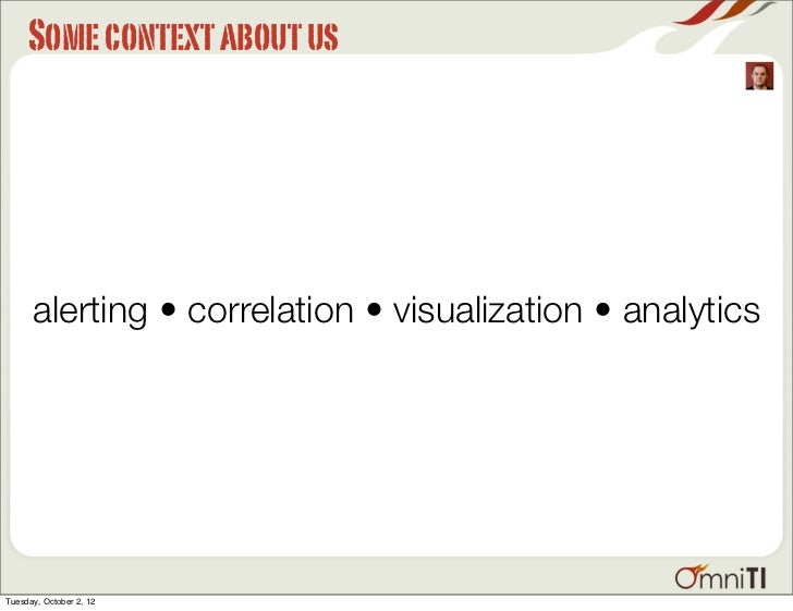 Some context about us      alerting • correlation • visualization • analyticsTuesday, October 2, 12