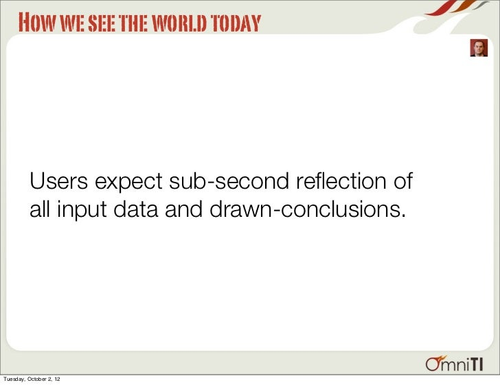 How we see the world today          Users expect sub-second reflection of          all input data and drawn-conclusions.Tue...