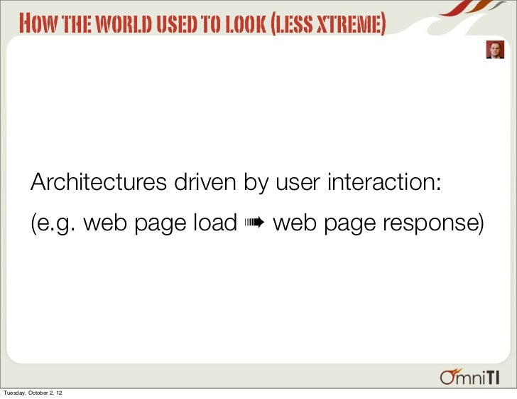 How the world used to look (less xtreme)          Architectures driven by user interaction:          (e.g. web page load ➠...