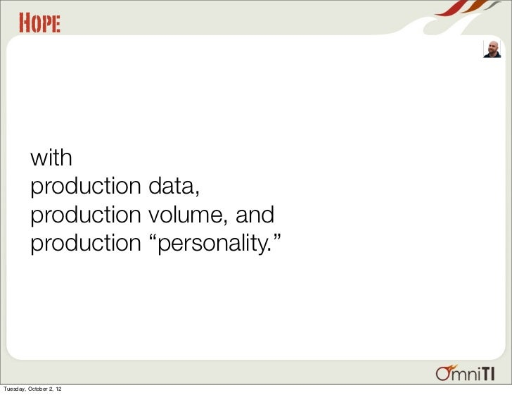 """Hope          with          production data,          production volume, and          production """"personality.""""Tuesday, Oc..."""