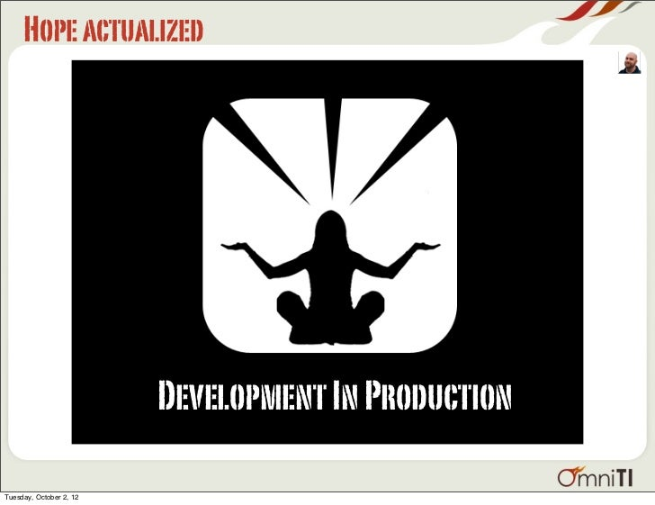 Hope actualized                         Development In ProductionTuesday, October 2, 12