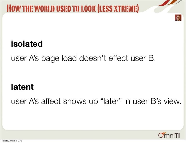 How the world used to look (less xtreme)          isolated          user A's page load doesn't effect user B.          lat...