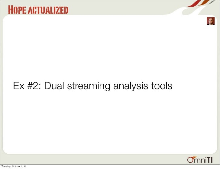 Hope actualized          Ex #2: Dual streaming analysis toolsTuesday, October 2, 12