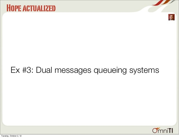 Hope actualized          Ex #3: Dual messages queueing systemsTuesday, October 2, 12