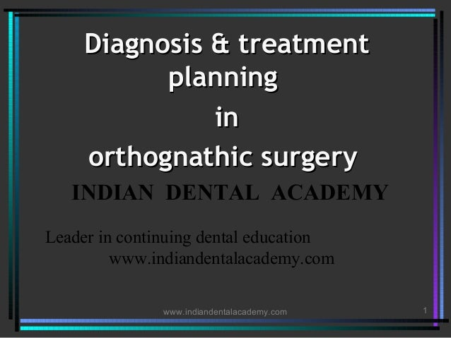 Diagnosis & treatment planning in orthognathic surgery INDIAN DENTAL ACADEMY Leader in continuing dental education www.ind...