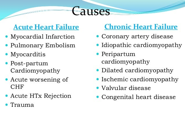 causes and effects of heart failure Heart failure may be due to a variety of factors and causes such as damage to the heart muscle of unknown origin (idiopathic cardiomyopathy), developmental abnormalities (eg, atrial septal defect), thyroid disease (eg, hyperthyroidism), cardiac valve disease, etc the most common cause of heart .