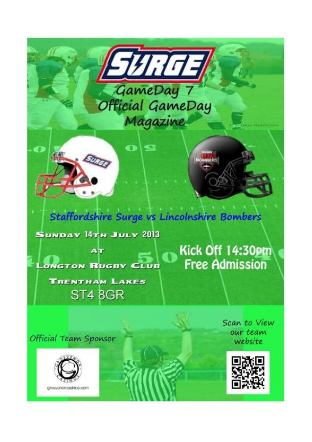 Staffordshire Surge vs Lincolnshire Bombers GameDay 7 Welcome to our first ever gameday magazine for the Staffordshire Sur...
