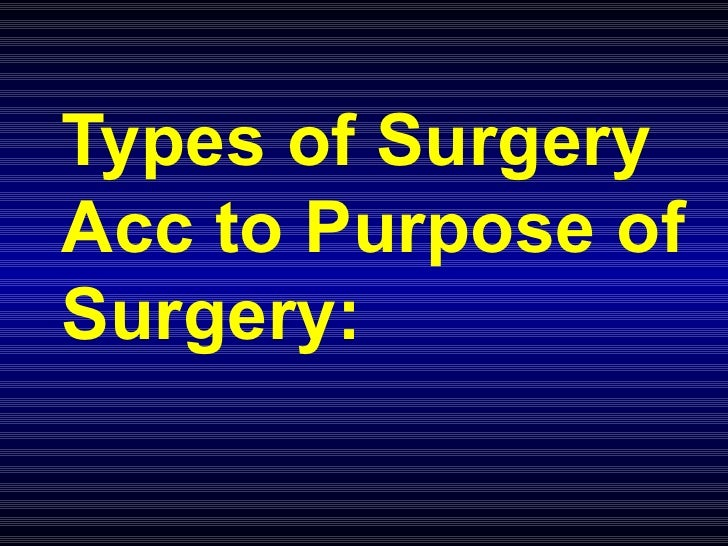 Types of Surgery Acc to Purpose of Surgery: