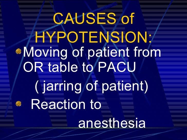CAUSES of HYPOTENSION: <ul><li>Moving of patient from  OR table to PACU  </li></ul><ul><li>( jarring of patient) </li></ul...