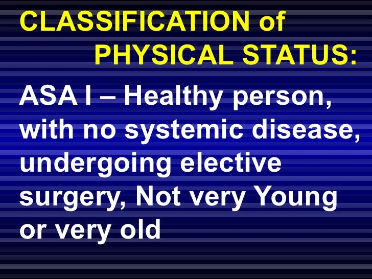 CLASSIFICATION of  PHYSICAL STATUS: ASA I – Healthy person, with no systemic disease, undergoing elective surgery, Not ver...