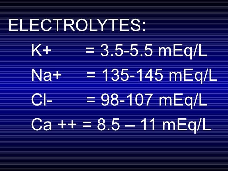 ELECTROLYTES: K+  = 3.5-5.5 mEq/L Na+  = 135-145 mEq/L Cl-  = 98-107 mEq/L Ca ++ = 8.5 – 11 mEq/L
