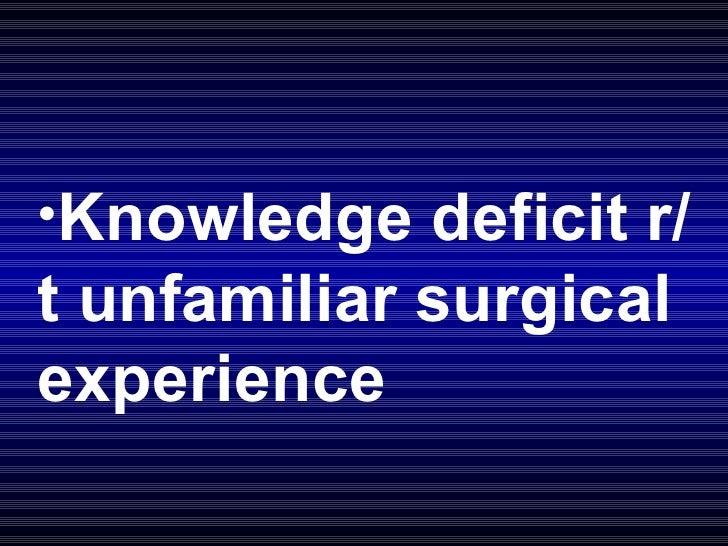 <ul><li>Knowledge deficit r/t unfamiliar surgical experience </li></ul>