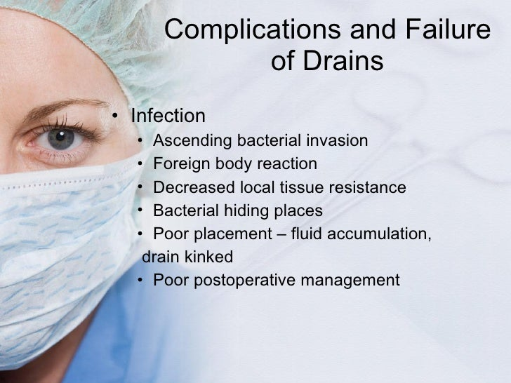 Complications and Failure of Drains <ul><li>Infection </li></ul><ul><ul><li>Ascending bacterial invasion </li></ul></ul><u...