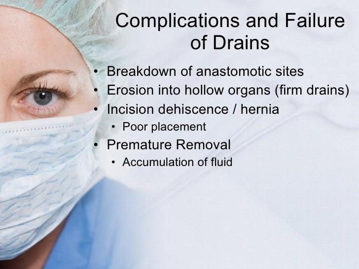 Complications and Failure of Drains <ul><li>Breakdown of anastomotic sites </li></ul><ul><li>Erosion into hollow organs (f...
