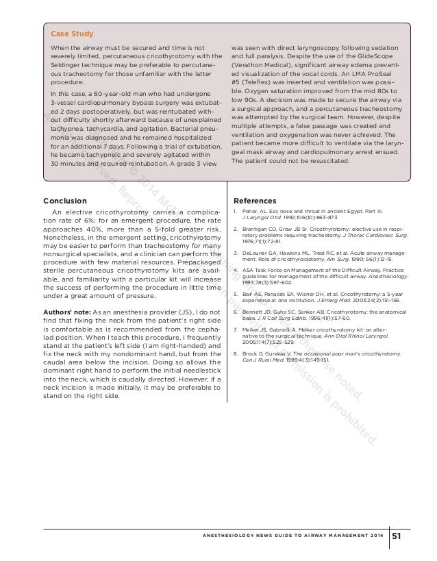 Surgical Management Of The Failed Airway A Guide To Percutaneous Cri