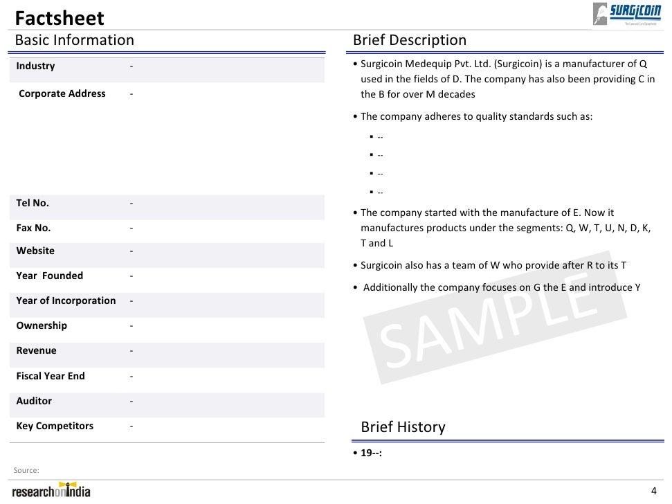 Surgicoin Medequip Pvt Ltd Company Profile Sample – Brief Company Profile Sample
