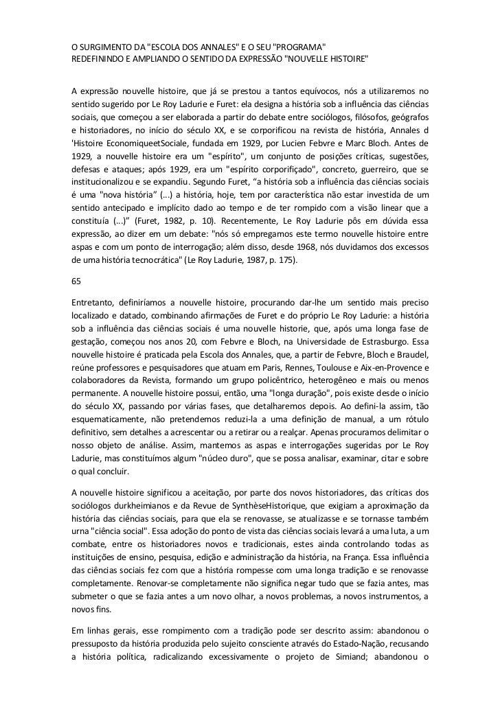"""O SURGIMENTO DA """"ESCOLA DOS ANNALES"""" E O SEU """"PROGRAMA""""REDEFININDO E AMPLIANDO O SENTIDO DA EXPRESSÃO """"NOUVELLE HISTOIRE""""A..."""