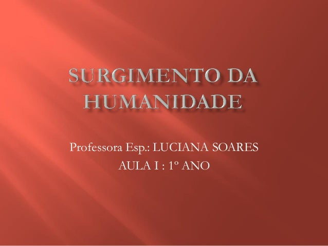 Professora Esp.: LUCIANA SOARES AULA I : 1º ANO