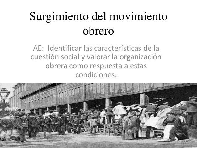 Surgimiento del movimiento obrero AE: Identificar las características de la cuestión social y valorar la organización obre...