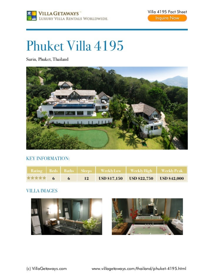 Villa 4195 Fact SheetPhuket Villa 4195Surin, Phuket, ThailandKEY INFORMATION:  Rating    Beds    Baths   Sleeps    Weekly ...