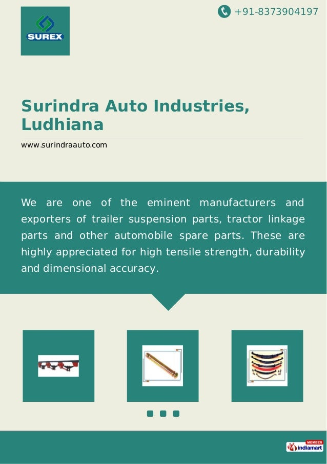 +91-8373904197 Surindra Auto Industries, Ludhiana www.surindraauto.com We are one of the eminent manufacturers and exporte...