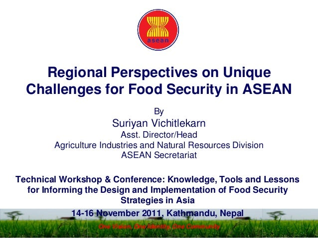 Regional Perspectives on Unique Challenges for Food Security in ASEAN By Suriyan Vichitlekarn Asst. Director/Head Agricult...