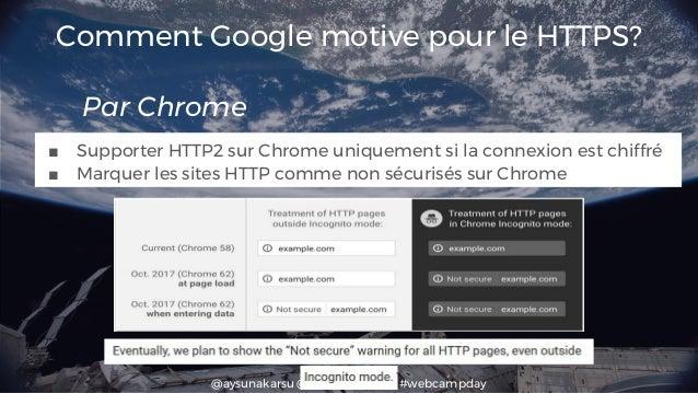 @aysunakarsu @searchdatalogy #webcampday Comment Google motive pour le HTTPS? Par Chrome ■ Supporter HTTP2 sur Chrome uniq...