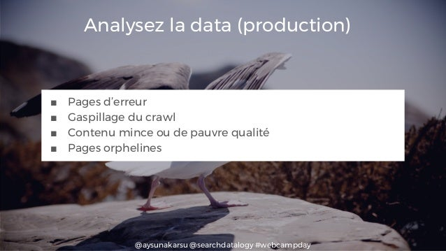@aysunakarsu @searchdatalogy #webcampday Analysez la data (production) ■ Pages d'erreur ■ Gaspillage du crawl ■ Contenu mi...