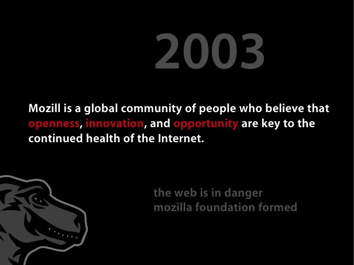 2003 Mozill is a global community of people who believe that openness, innovation, and opportunity are key to the continue...