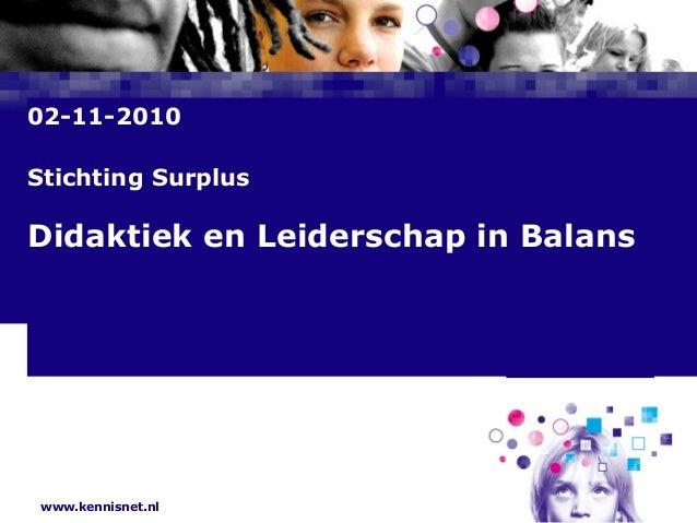 www.kennisnet.nl Naam van de Auteur 7 januari 2008 02-11-2010 Stichting Surplus Didaktiek en Leiderschap in Balans