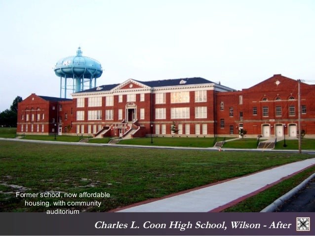 Former school, now affordable  housing. with community  Charles L. Coon High School, Wilson - After  auditorium