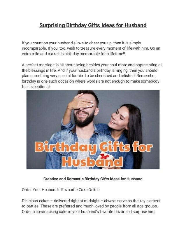 Surprising Birthday Gifts Ideas For Husband If You Count On Your Husbands Love To Cheer