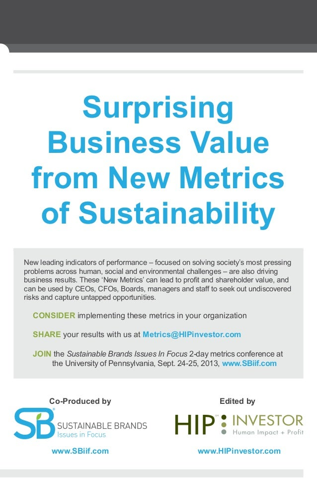 New leading indicators of performance – focused on solving society's most pressing problems across human, social and envir...