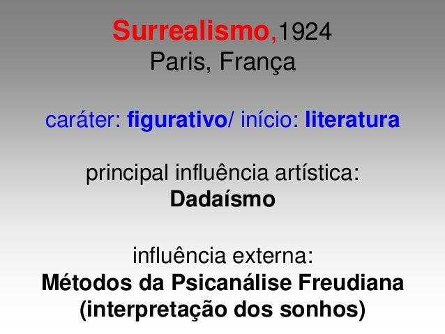 Surrealismo,1924 Paris, França caráter: figurativo/ início: literatura principal influência artística: Dadaísmo influência...