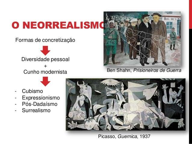 O NEORREALISMOFormas de concretizaçãoDiversidade pessoal+Cunho modernista- Cubismo- Expressionismo- Pós-Dadaísmo- Surreali...