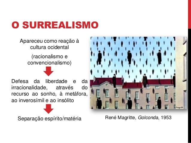 O SURREALISMOApareceu como reação àcultura ocidental(racionalismo econvencionalismo)Defesa da liberdade e dairracionalidad...
