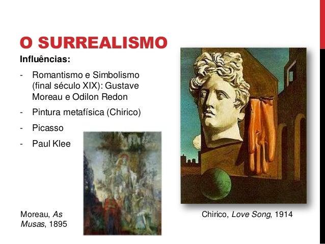 O SURREALISMOInfluências:- Romantismo e Simbolismo(final século XIX): GustaveMoreau e Odilon Redon- Pintura metafísica (Ch...