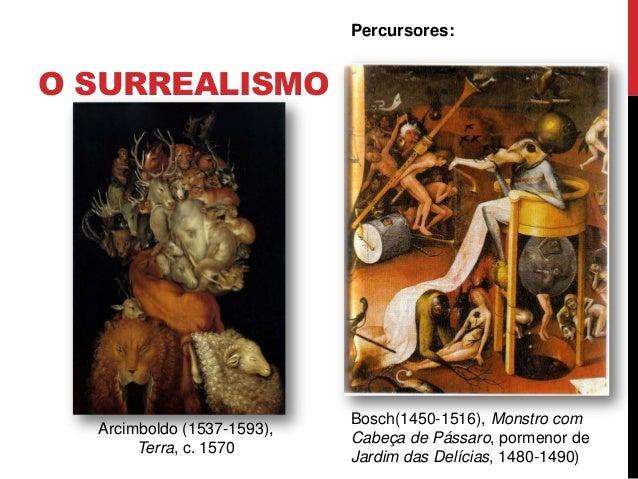 O SURREALISMOPercursores:Bosch(1450-1516), Monstro comCabeça de Pássaro, pormenor deJardim das Delícias, 1480-1490)Arcimbo...