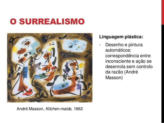 O SURREALISMOLinguagem plástica:- Desenho e pinturaautomáticos:correspondência entreinconsciente e ação sedesenrola sem co...