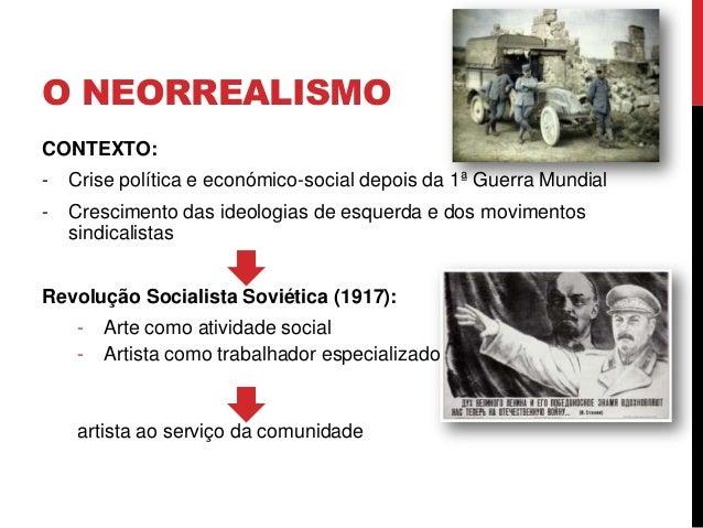O NEORREALISMOCONTEXTO:- Crise política e económico-social depois da 1ª Guerra Mundial- Crescimento das ideologias de esqu...