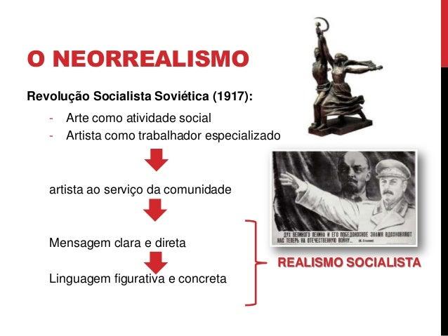 O NEORREALISMORevolução Socialista Soviética (1917):- Arte como atividade social- Artista como trabalhador especializadoar...