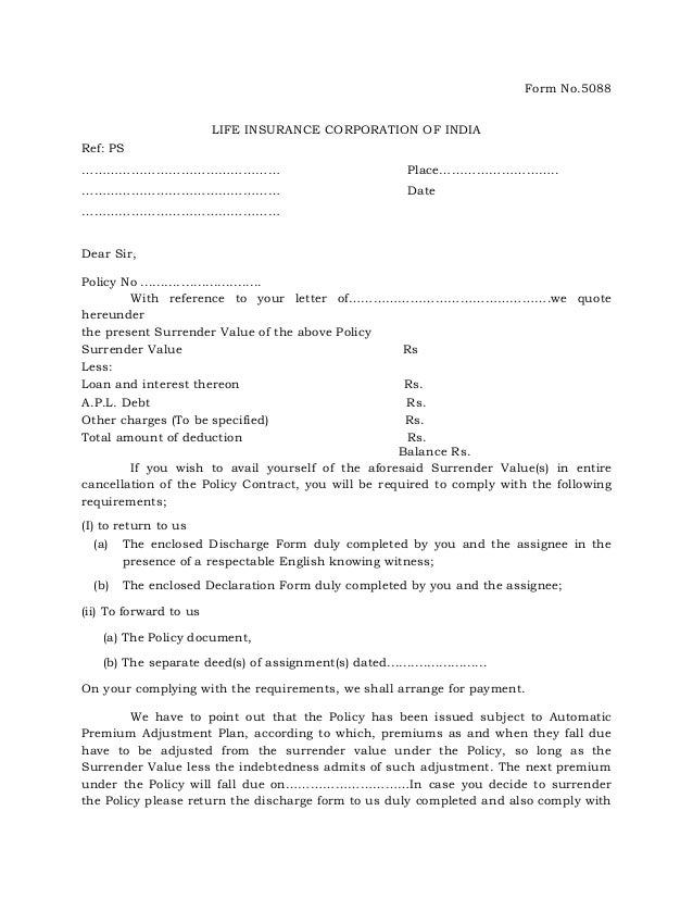 Surrender Value Quotation Letter Form 5088