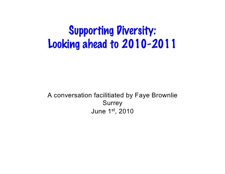 Supporting Diversity: Looking ahead to 2010-2011    A conversation facilitiated by Faye Brownlie                   Surrey ...