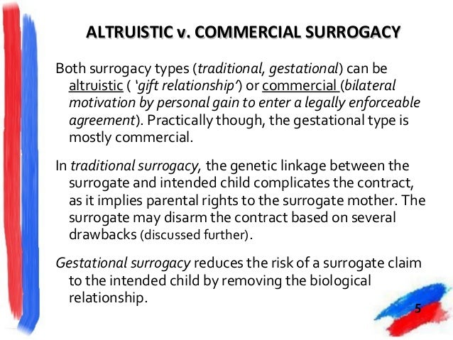 altruistic surrogacy arrangements Altruistic surrogacy and the transfer of legal parentage  enter into, a surrogacy  arrangement (altruistic or commercial) will be unlawful.