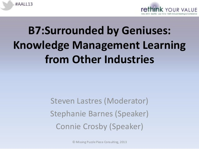 B7:Surrounded by Geniuses: Knowledge Management Learning from Other Industries Steven Lastres (Moderator) Stephanie Barnes...