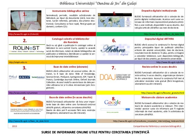 Instrumente bibliografice onlineSemnalează, periodic, noutăţile achiziţionate debibliotecă, pe tipuri de documente (cărţi,...