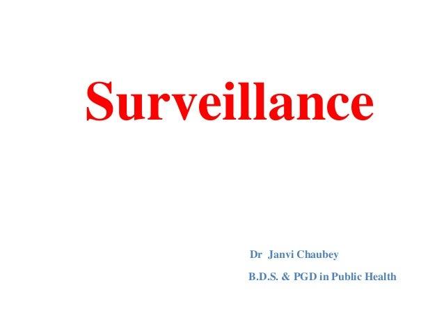Surveillance Dr Janvi Chaubey B.D.S. & PGD in Public Health