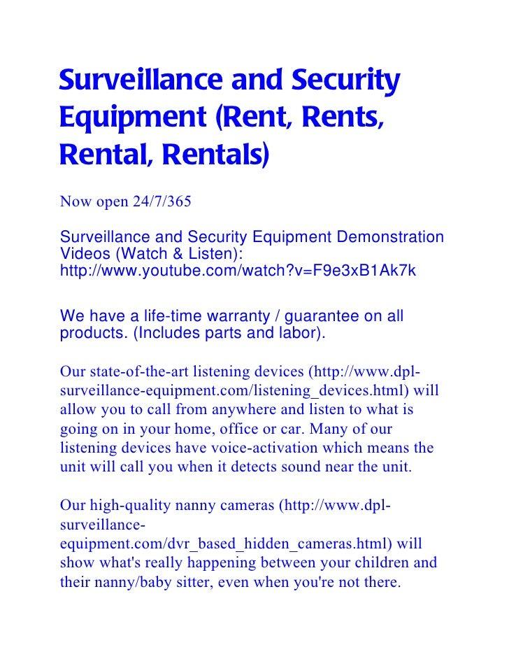 Surveillance and SecurityEquipment (Rent, Rents,Rental, Rentals)Now open 24/7/365Surveillance and Security Equipment Demon...