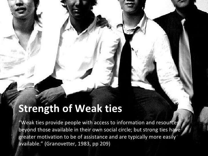 """Strength of Weak ties <ul><li>"""" Weak ties provide people with access to information and resources beyond those available i..."""