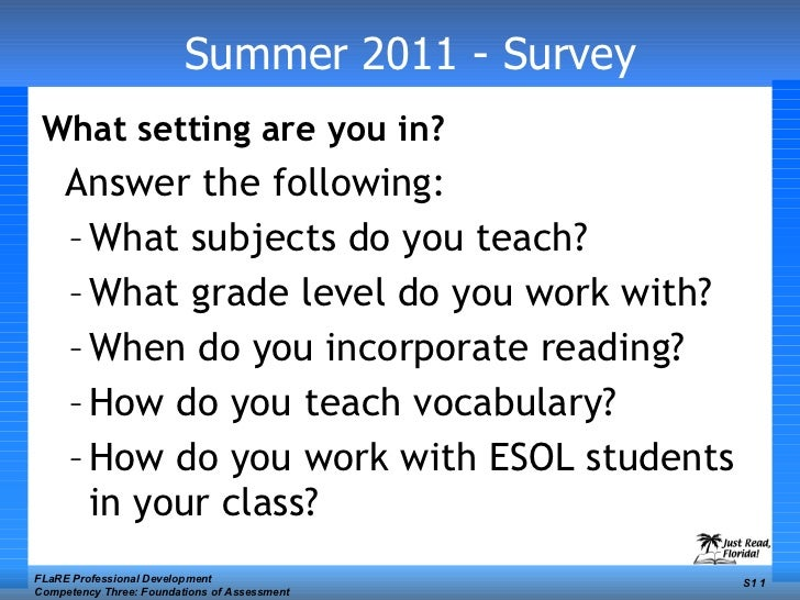 Summer 2011 - Survey <ul><li>What setting are you in?   </li></ul><ul><li>Answer the following: </li></ul><ul><ul><li>What...